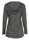 Fashion Autumn Women Hooded Drawstring Front Pocket Long Sleeves Tee