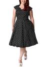 Vestido de polca retro feminino Vestido de 60 s 60s vestido A-Line Party Vestido Midi