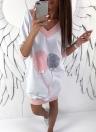 Fashion Women V Neck Long Top Lace Splice Casual Loose Mini Dress