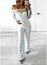 Sexy Women Off the Shoulder Long Sleeves Lace Jumpsuit Backless Romper