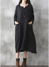 Oversized Women Retro Dress Casual Loose Vestido Longo Bolsos Solid Dress
