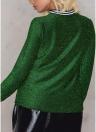 Frauen Metallic Bluse High Neck mit langen Ärmeln Streifen Casual elegante Pullover Top