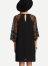 Women Loose Dress Sheer Lace Cut Out 3/4 Sleeve Casual Short Dress Solid Mini Dress