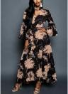 Women Chiffon Maxi Dress Floral Print Cut Out V-Neck Chocker Flare Sleeve Long Dress