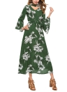 Floral Imprimir Cut Out V-Neck Chocker Flare manga Chiffon Maxi Dress