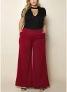 Moda Mulher Tamanho Plus Bolsos laterais de cor sólida Calças de perna larga de cintura alta