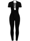 Femmes Sexy Lace Up Jumpsuit Bodycon manches courtes Backless
