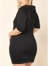 Women Plus Size Long Hooded Solid Half Sleeve Pockets Casual Slim Mini Sweatshirt Dress