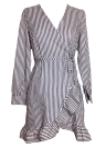 Femmes Robe Contraste Stripes Croix Over Deep V Drapé Ruffle à manches longues Cravate Casual One-Piece
