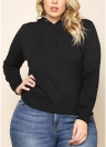 Women Plus Size Sweatshirt Solid Hooded Drawstring Pocket Long Sleeve Casual Oversized Pullover