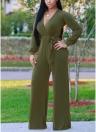 Mujeres atractivas con cuello en V manga larga cinturón piernas largas sólido mono elegante
