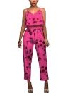 Correa de espagueti impresa floral del verano de las mujeres Sistemas de los tops de las colmenas y de los pantalones largos de las colmenas dobles