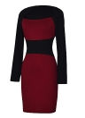 Sexy Women Pencil Dress Square Neck Long Sleeves Color Block Clubwear Evening Party Dress