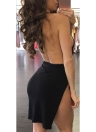Sexy Women Halter Plunge V Sleeveless Backless Split Asymmetric Ruching Bandage Mini  Bodycon Dress
