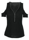 Women T-shirt Solid Stretchy Ribbed  Cold Shoulder Zipper  Cut Out Tops
