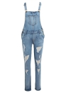 Femmes Ripped Denim Jumpsuit Salopettes Poches Bouton Casual Dungarees Jeans Longs Combishorts Barboteuses