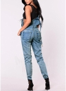 Women Ripped Denim Jumpsuit Overalls Pockets Button Casual Dungarees Long Jeans Playsuit Rompers