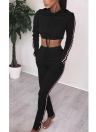 Women Two Pieces Hoody Crop Top Pencil Pants Striped Slim Sports Casual Tracksuits