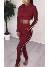 Женщины Два Pieces Hoody Crop Топ Карандаш Брюки Полосатый Slim Спортивные Случайные Спортивные костюмы