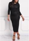 Mulheres Plus Size Bodycon Midi Dress 3/4 Sleeve Shining Slit Back Tricô Bainha Pencil Party Dress