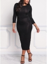 Women Plus Size Bodycon Midi Dress 3/4 Sleeve Shining Slit Back Knitting Sheath Pencil Party Dress
