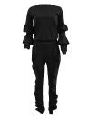 Mode Frauen Zweiteiler Solide Rüschen Top Kordelzug Lange Hosen Langarm Hoodies Lässige Sportbekleidung