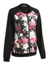 Fashion Women Floral Print Jacket Coat Zipper Long Sleeve Pocket Bomber Jacket