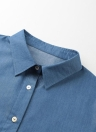 Women Denim T-Shirt Leopard Printed Turn-down Collar Button Pockets Loose Tee Top