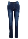 Sexy Women Bracelete bordado Jeans High Waist Button Zipper Pockets Skinny Pencil Denim Pants