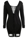 NewSexy Women Cross Hollow Out Deep V Back Long Sleeve Bandage Bodycon Dress Sexy Women Cross Hollow Out Bodycon Dress Deep V Back Long Sleeve Evening Party Club Bandage Dress Black