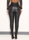 Sexy Women Pu Wet Look Faux Leather Stretchy Leggings Elastic Waist High Rise Skinny Pants