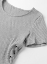 Sexy Women Knitted Sweater Cross Lace Up Bandage High-Low Hem Slim Tops Tee Pullover Knitwear