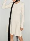 Nuevas mujeres Mini vestido o-cuello de manga larga perlas elegantes vestidos de fiesta delgados