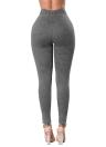 Vaqueros flacos de las mujeres de mezclilla de cintura alta elástico lavado acanalado flaco lápiz pantalones mallas polainas