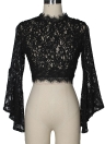 Mulheres Crop Top Sheer Crochet Lace High Neck Long Flare Sleeve Exposed Zipper Back See Through Blusa