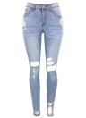 Женские джинсы Stretch Washed Denim Ripped Holes Mid Waist Distressed Sexy Skinny Pencil Pants