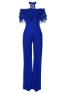Mulheres Off the Shoulder Jumpsuit Lace Halter Wide Leg Pants Long Trousers Overalls Playsuit