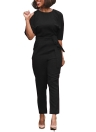 Sexy Women Slit Half Sleeve Backless Belt Jumpsuit Rompers High Waist Hollow Out Back Slim Overalls Club wear