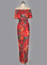 Vestido de mujer Contraste Hojas florales estampado del volante de hombro Ruching alto Split Maxi vestido largo