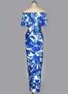 Women Dress Contrast Floral Leaves Print Off the Shoulder Ruffle Ruching High Split Maxi Long Gown