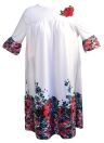 Moda donna over size floreale stampa mini dress o collo flare manica abito casual allentato