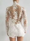 Conjunto de dos piezas sexy de encaje de malla superior mangas largas bordado floral pantalones cortos sólidos traje