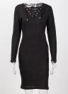 Femmes côtelé robe solide col en V Croix Over Lace Up Bandage à manches longues Midi Slim Casual One-Piece