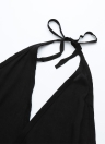 Sexy Women Backless Deep V Neck Drawstring Waist Jumpsuit