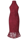 Vestido de sirena de las mujeres atractivas gargantilla de encaje de ganchillo cuello alto sin mangas del partido delgado vestido de cola de pescado borgoña / azul / negro