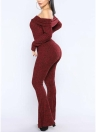 Women Bodycon Jumpsuit Off the Shoulder Long Sleeves Flare Long Romper