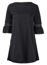 Fashion Women Mini Dress O Neck 3/4 Flare Sleeve Hollow Out Solid Color Casual Party Dress