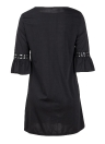Moda Mulheres Mini Vestido O Neck 3/4 Flare Sleeve Oco Fora Solid Color Casual Party Dress