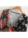 Women Chiffon Floral Dress Kimono Cardigan Sash V-Neck Long Sleeve Boho Cover Up Belted Midi Dress