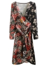 Mulheres Chiffon Floral Dress Kimono Cardigan Sash V-Neck manga comprida Boho Cover Up Belted Midi Dress